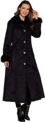 Dennis Basso Full Length Faux Shearling Coat - Regular