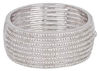 Nadri 8 Row Crystal Pave Hinged Bangle Bracelet