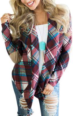 SEBOWEL Juniors Fashion Suede Elbow Patch Long Sleeve Plaid Cardigan Tops M