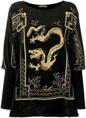Alberta Ferretti dragon patch top