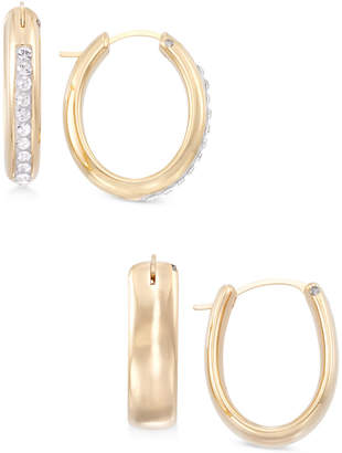 Swarovski Signature Gold 2-Pc. Set Crystal & Polished Hoop Earrings in 14k Gold over Resin, Created for Macy's