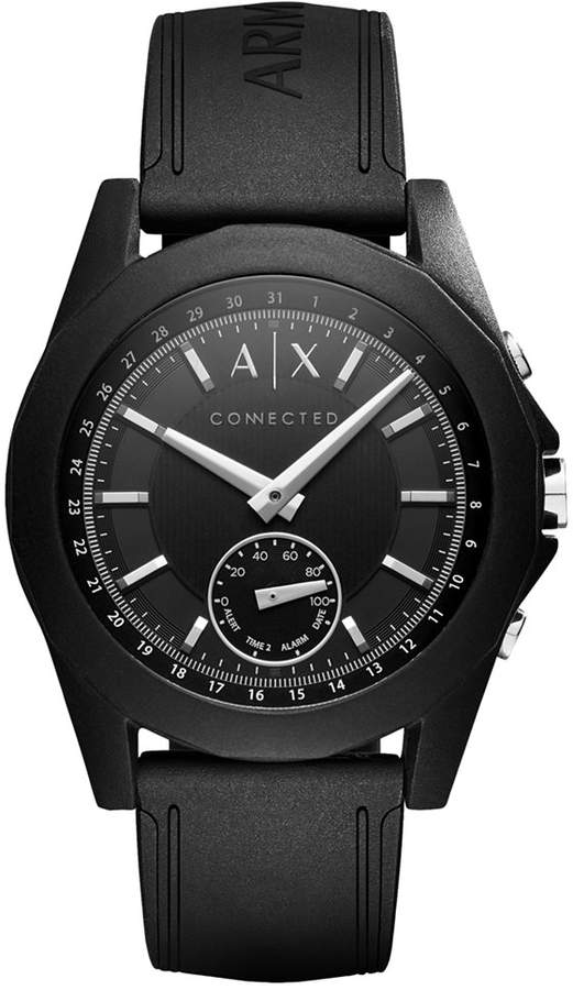 Armani Exchange  A|X Armani Exchange Men's Connected Black Silicone Strap Hybrid Smart Watch 44mm AXT1001