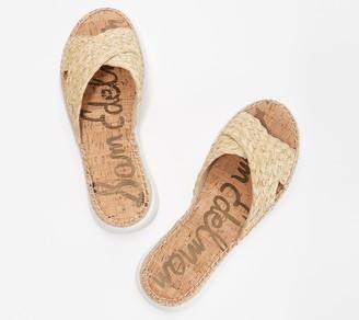 Sam Edelman Braided Raffia Cross Strap Slide Sandals - Jovie