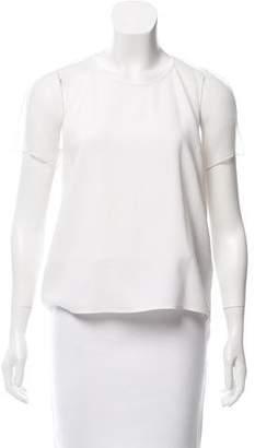 Burberry Chiffon-Paneled Short Sleeve Top