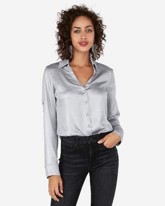 Express Petite Slim Fit Shimmer Portofino Shirt