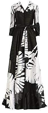 Carolina Herrera Women's Jacquard Silk-Tulle Three-Quarter Sleeve A-Line Shirt Gown