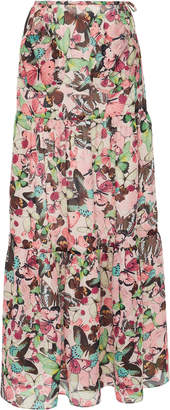 Monique Lhuillier Tiered Printed Chiffon Maxi Skirt Size: 10