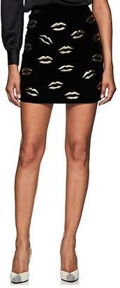 Givenchy Women's Lip-Embroidered Velvet Miniskirt