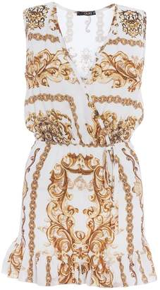 Quiz TOWIE Cream And Gold Scarf Print Frill Playsuit