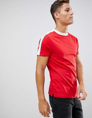 New Look t-shirt with arm stripe in red