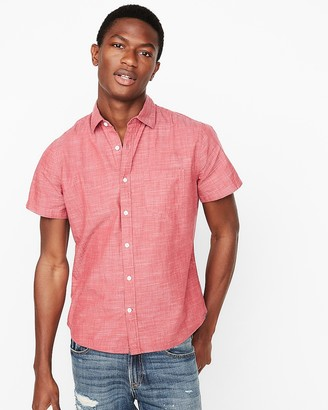 Express Slim Solid End On End Short Sleeve Shirt