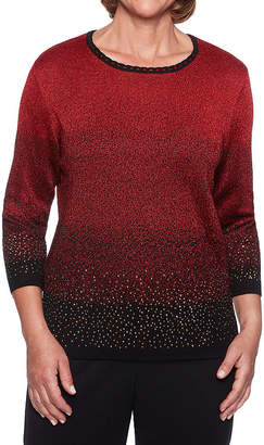 Alfred Dunner Classics 3/4 Sleeve Round Neck Pullover Sweater
