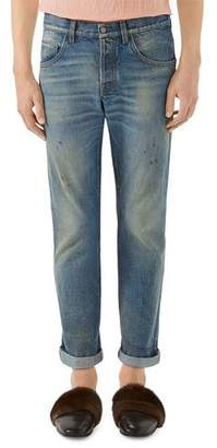 Gucci 5-Pocket Tapered-Leg Distressed Jeans