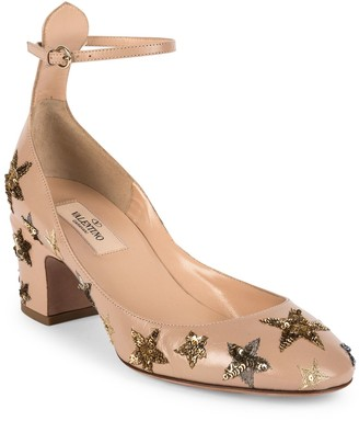 Valentino Star-Studded Leather Ankle-Strap Block Heel Pumps