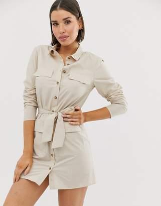 Asos Design DESIGN utility belted mini cotton shirt dress