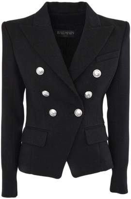 Balmain Black Cotton And Virgin Wool Blazer.