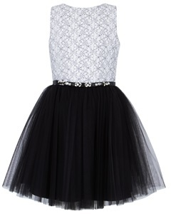 David Charles Corded Lace and Tulle Dress