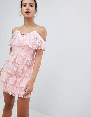 PrettyLittleThing Lace Up Cold Shoulder Tiered Bardot Dress