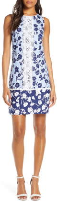 Eliza J Sleeveless Lace Trim Floral Shift Minidress