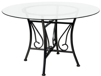 Flash Furniture Princeton 48'' Round Glass Dining Table with Black Metal Frame