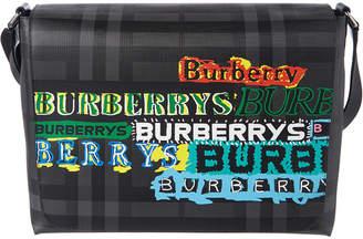 Burberry Large Logo Print Leather Messenger Bag