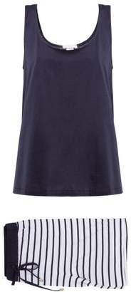Hanro Laura Cotton Blend Pyjama Set - Womens - Blue Stripe