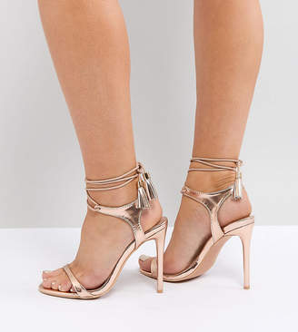 Lost Ink Wide Fit Rose Gold Tie Up Heeled Sandals