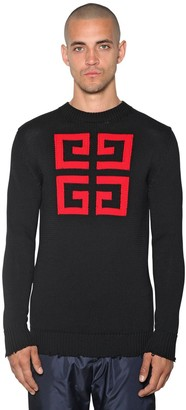 Givenchy 4G LOGO INTARSIA COTTON CREWNECK SWEATER