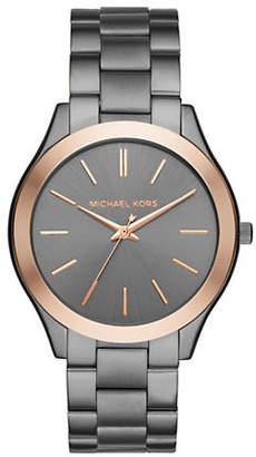 Michael Kors Slim Runway Gunmetal and Rose Goldtone Three-Hand Watch