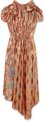 Gucci Bow-embellished Sequined Silk-georgette Gown - Antique rose