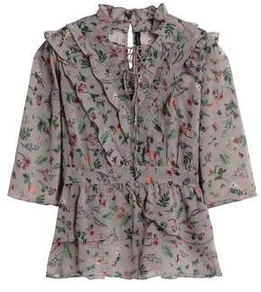 Walter W118 By Baker Danielle Lace-Up Floral-Print Georgette Blouse