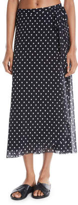 Fuzzi Polka Dot-Print Coverup Wrap Skirt