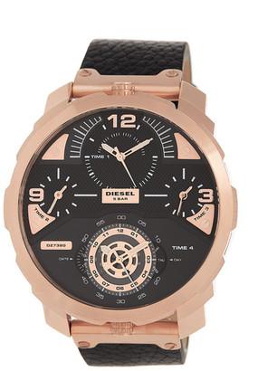 Diesel Men's Machinus Chronograph Leather Watch $350 thestylecure.com