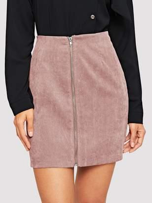Shein Zip Front Corduroy Bodycon Skirt