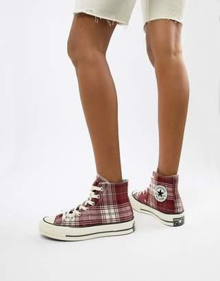 Converse Chuck 70 hi burgundy plaid sneakers