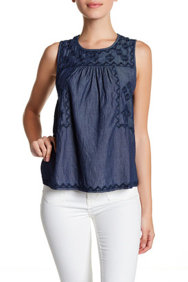 SUSINA Embroidered Chambray Tank (Petite) $24.97 thestylecure.com