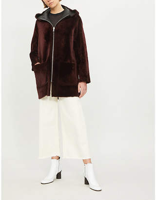 Sandro Reversible hooded leather and shearling coat