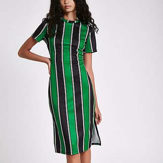 River Island Green stripe midi bodycon dress