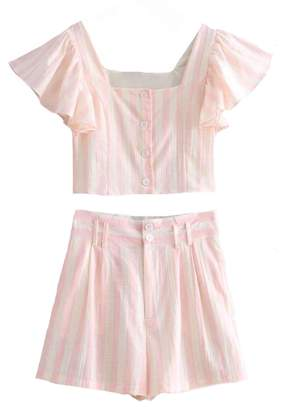 Goodnight Macaroon 'Candy' Cape Sleeve Button Front Striped Two Piece Set