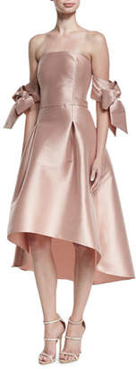Sachin + Babi Vani Strapless Bow-Sleeve Fit-and-Flare Cocktail Dress