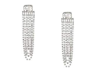 Steve Madden Emerald Post with Rhinestone Chain Chandelier Earrings