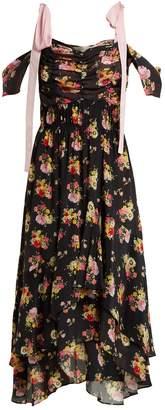 Preen Line Dehebra ruched floral-print georgette dress