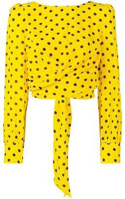 Alessandra Rich polka dot cropped blouse