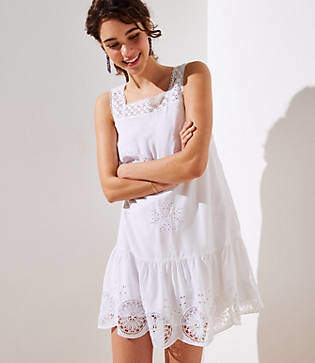 LOFT Petite Eyelet Garden Flippy Dress