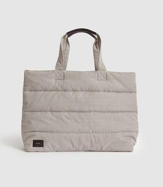 Reiss Tolly - Checked Tote Bag in Cream