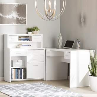 Latitude Run Milford L-Shaped Desk with Hutch