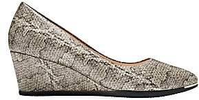 Cole Haan Women's Grand Ambition Snake-Embossed Leather Wedge Pumps