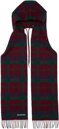 Balenciaga Red Check Hooded Scarf
