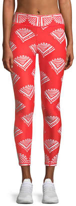 The Upside Fire Cracker Printed Midi Leggings