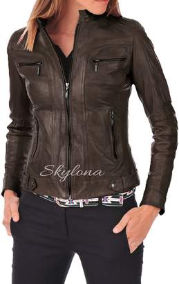 Skylona Womens Leather Jacket Stylish Motorcycle Biker Genuine Lambskin WJ 65 XL